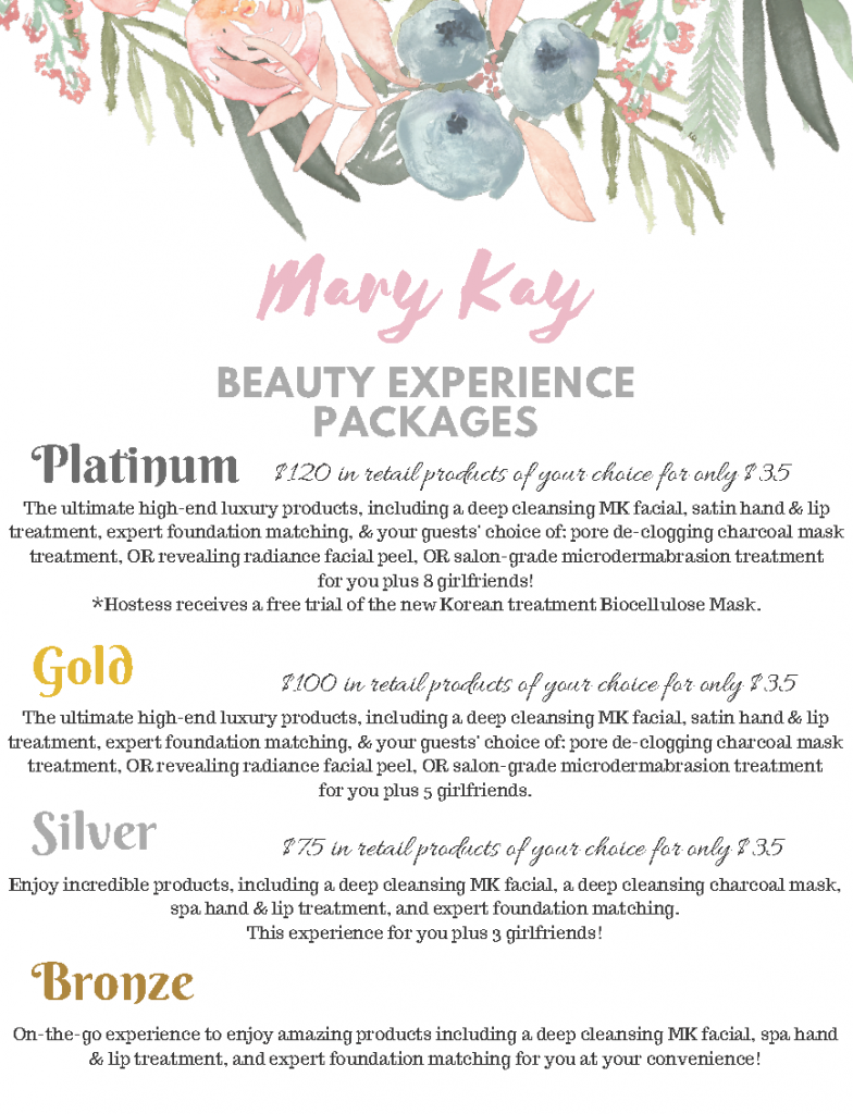 Beauty Experience Packages (Hostess Plan) with $120 for $35